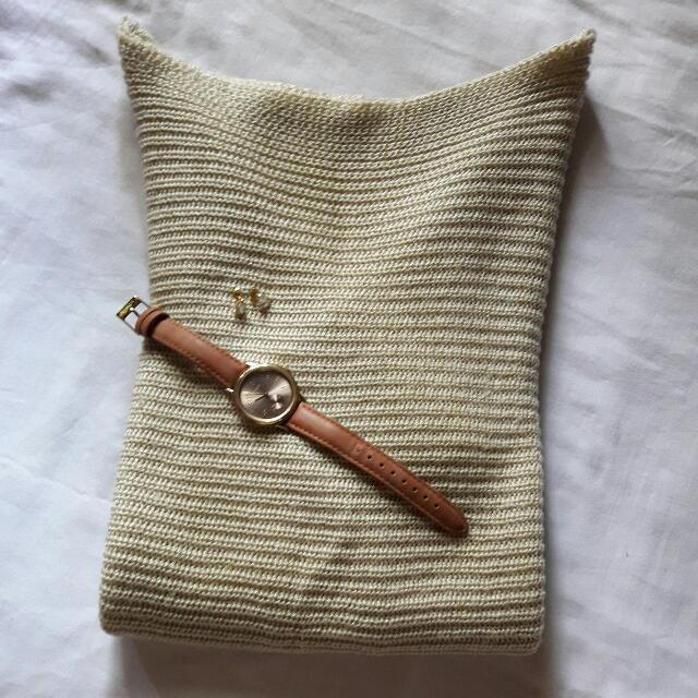 Knitted Attractive Cream Gold Sweater