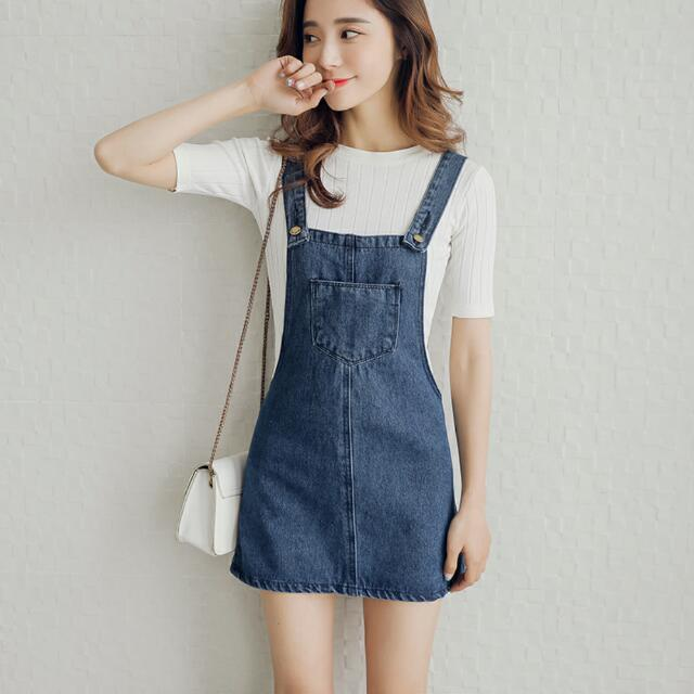 bcccb155b7e Korean Ulzzang Denim Overalls Outerwear Skirt Romper Jumpsuit