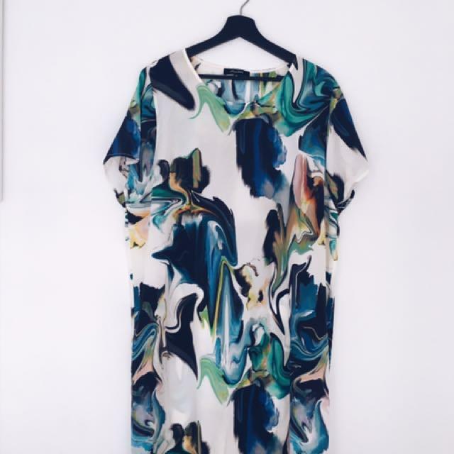 Life With bird Silk Watercolour Dress