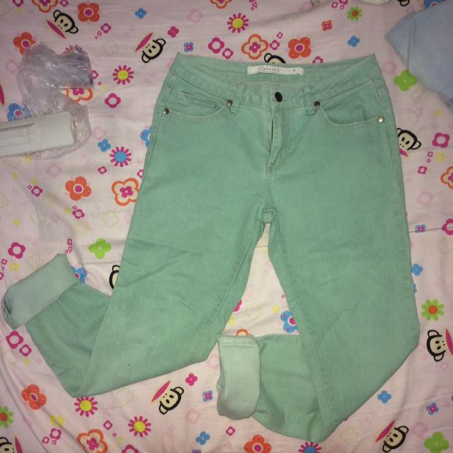 light washed green mental pants