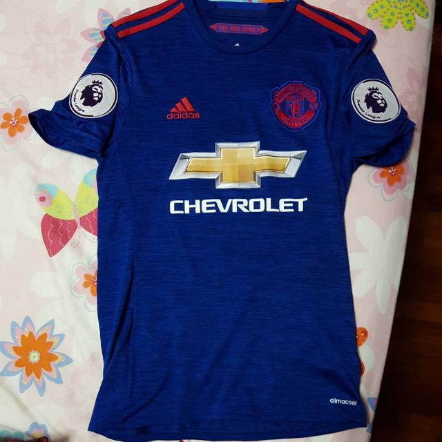 brand new 0dbd3 bf2cd Manchester United 2016/17 Away Kit With Epl Badges And Ibrahimović 9  Printing Size XS