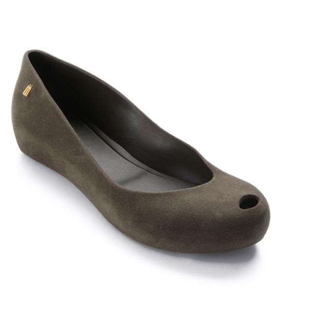 Melissa Ultragirl Flocked Flat Shoes - Hijau Tua