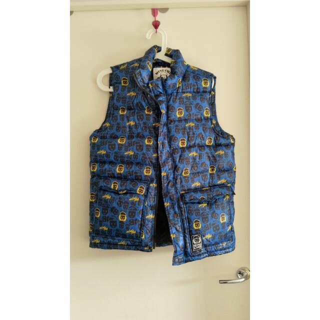 MINICHE size M Blue Sleeveless Puffer Jacket
