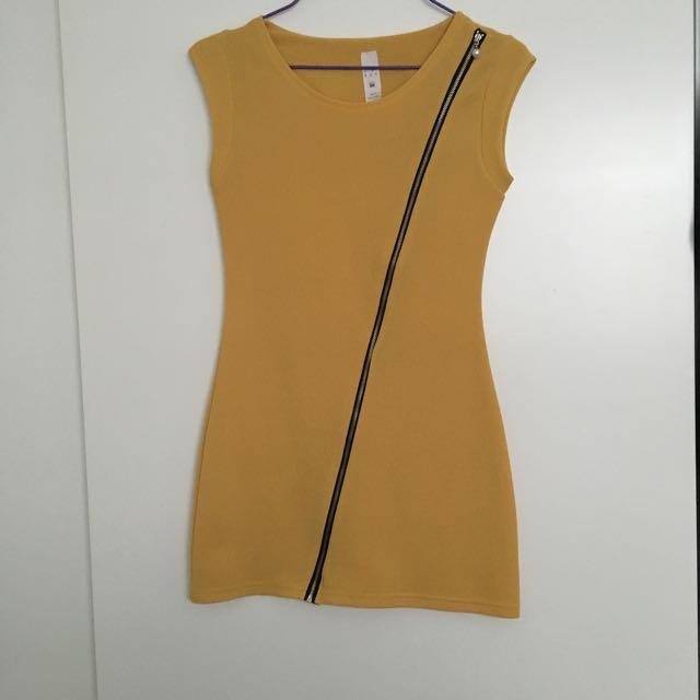 Mustard Dress With Side zip