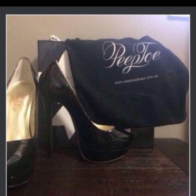 NEW Peeptoe Black Stilettos