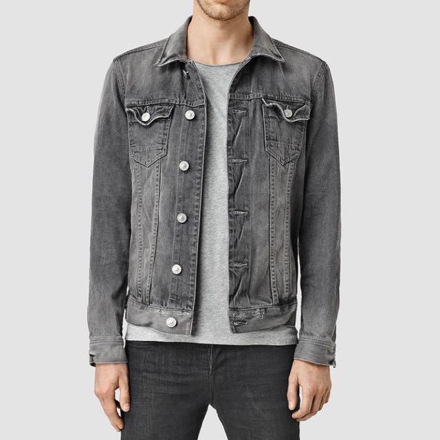 Oversized Top Shop Men Grey Denim Jacket