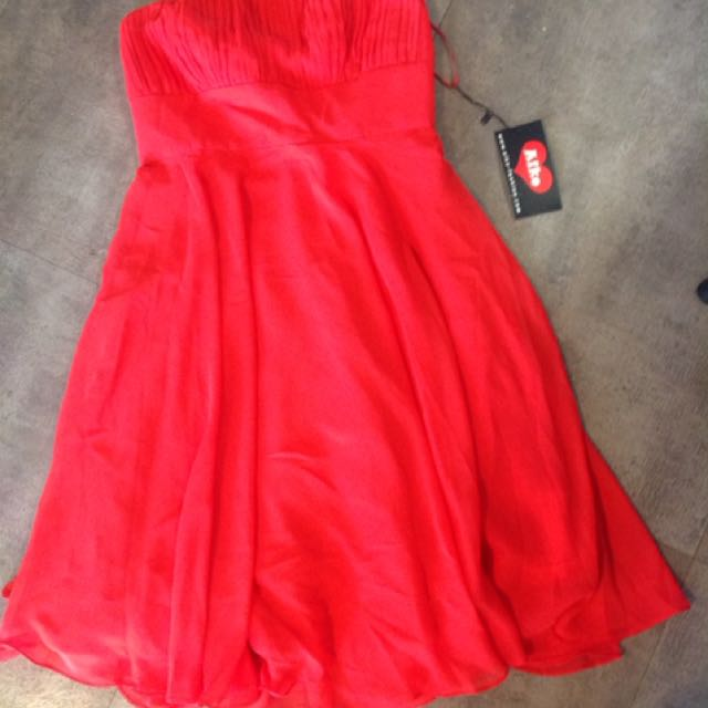 Red Chiffon Cocktail Dress