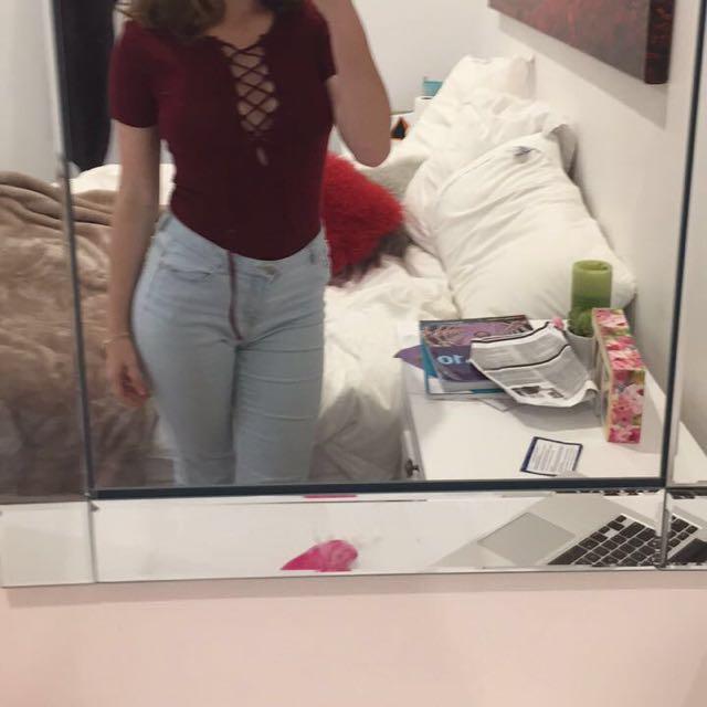 Ribbed Burgundy Lace Up Shirt