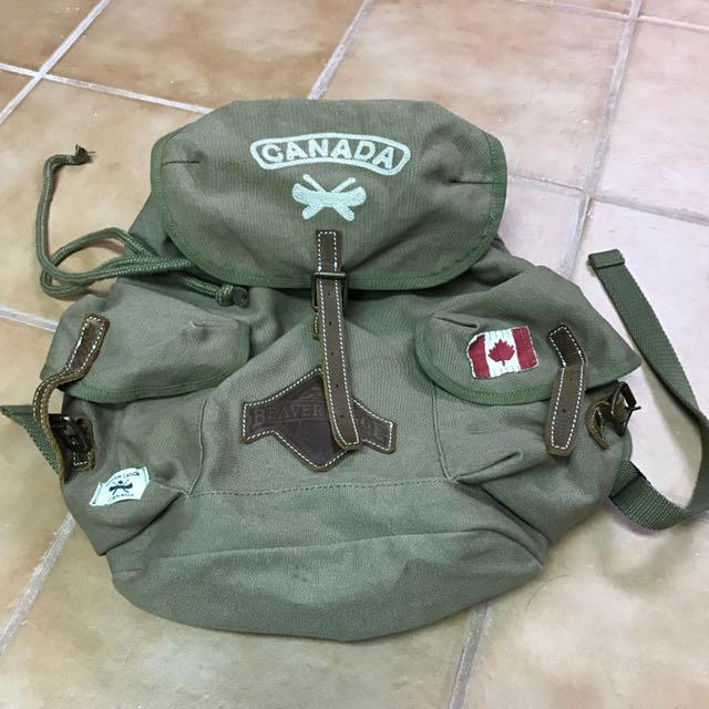 Roots Beaver Canoe Canvas Backpack