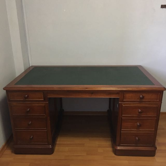 Office Desk With Leather Top 花梨木