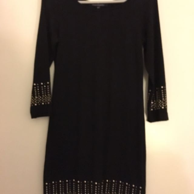 Size 12 French Connection Black Dress With Gold Detailing