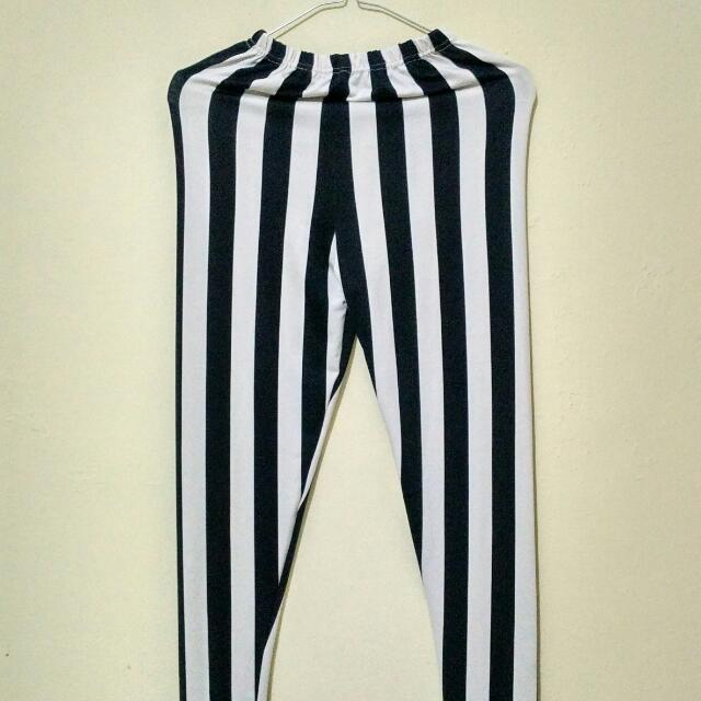 Stripped Legging Black & White