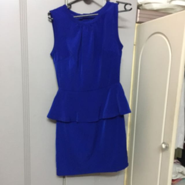 Velvet Blue Dress Formal Preloved