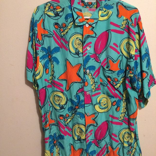 Vintage Benetton Colourful Shirt Sz M