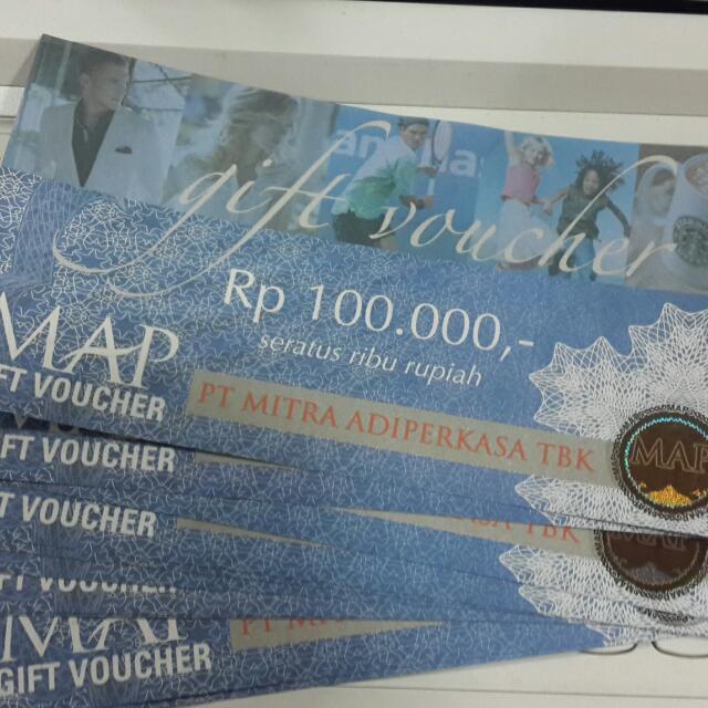 Voucher MAP 10 Lembar @100.000, Tickets & Vouchers, Gift Cards & Vouchers on Carousell