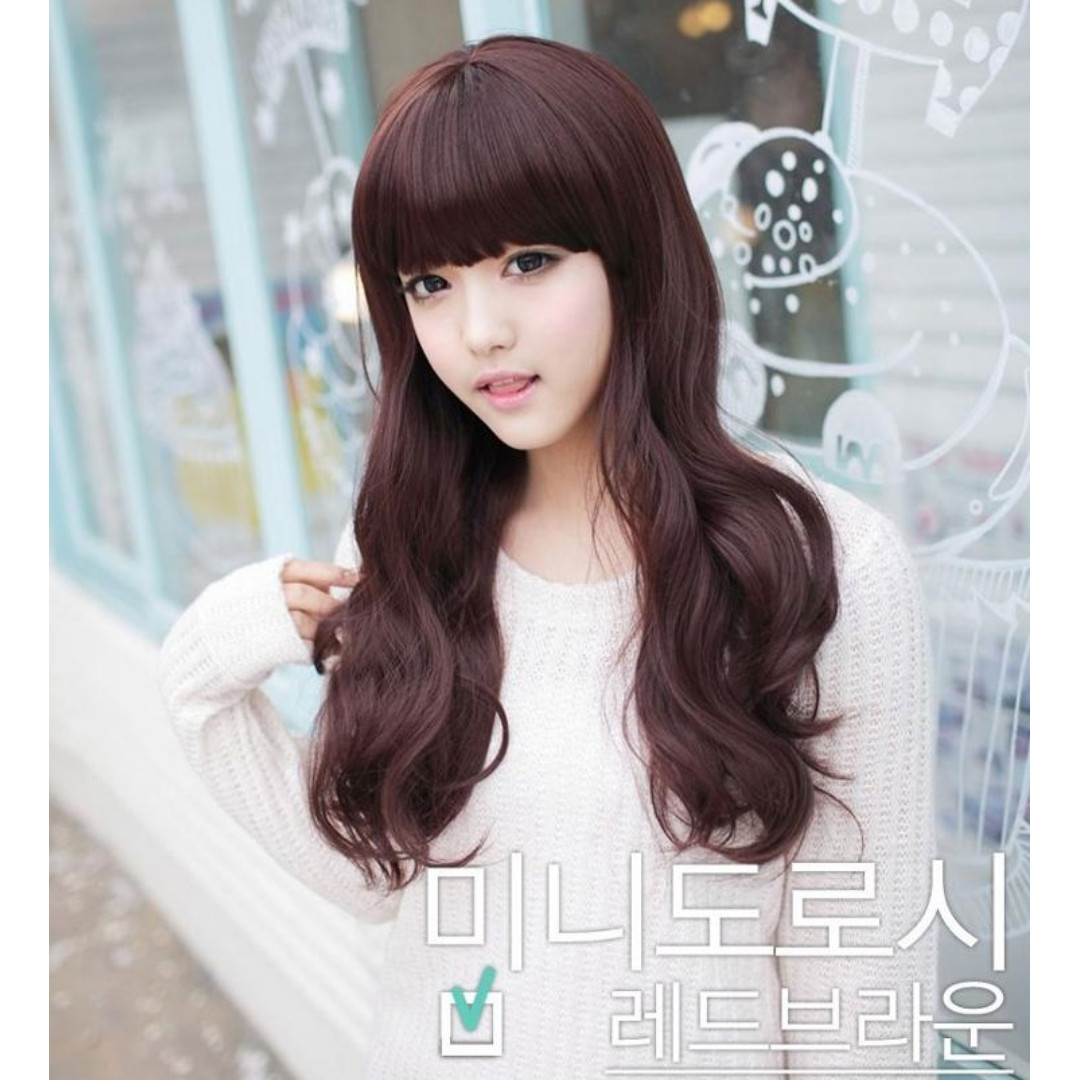 Wig Rambut Palsu Panjang (Dark Brown) FREE Hairnet