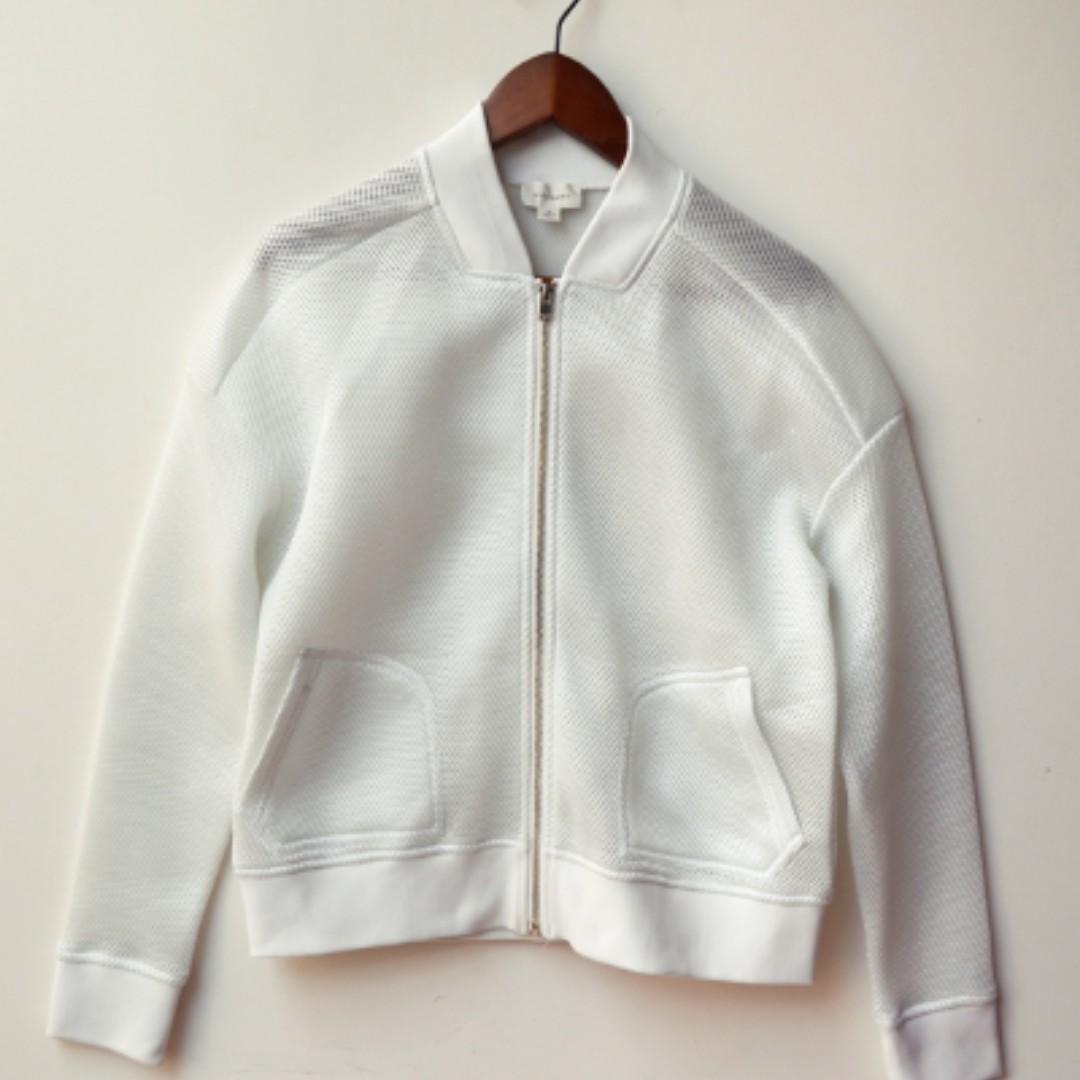 WITCHERY White Textured Honeycomb Mesh Bomber jacket size 10