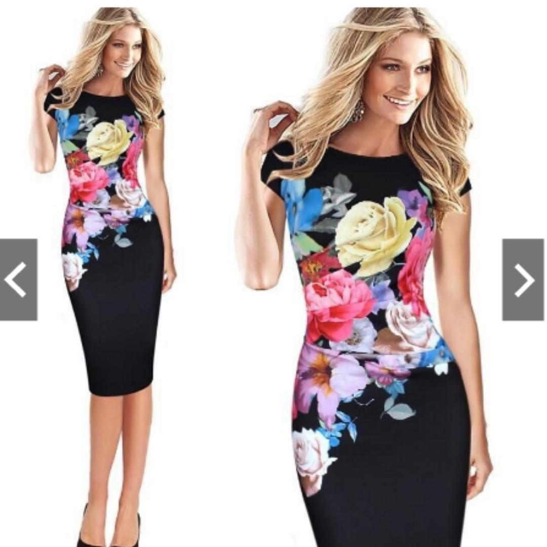 82e1c626881 Women Floral Print Sleeveless Split Cocktail Party Bodycon Midi ...