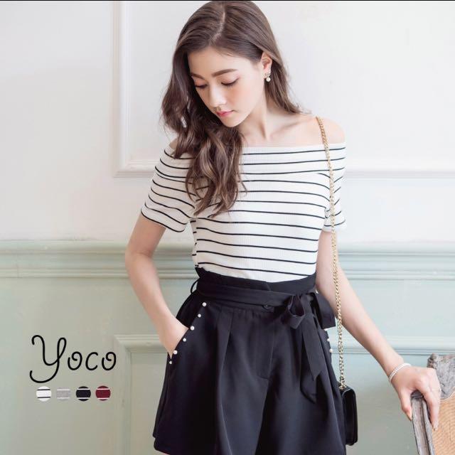 yoco百搭條紋短袖上衣
