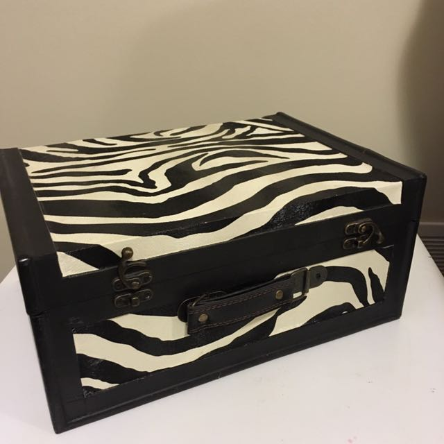 Zebra Print Wooden Storage Box
