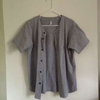 American Apparel Grey Baseball Tee