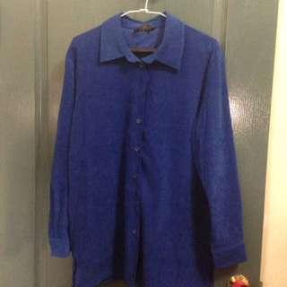 古著藍絲絨襯衫 L號