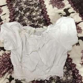 平口白色蓬蓬短板衣