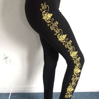 Black Leggings With GOLD Embroidering