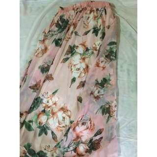 Floral Maxi Long Skirt Chiffon With Long Silk Lining Pretty Cute Beautiful Muslimah Hijab