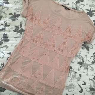 Armani Exchange Pink Sequin Tee
