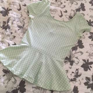 H&M Gingham Turquoise And White Peplum Top
