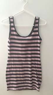 Pink And Grey Mid Dress