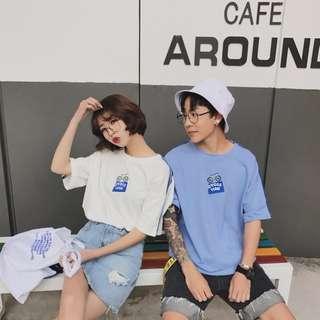 日韓風簡約中長袖 情侶寬鬆T恤