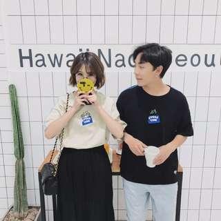 日韓風簡約中長袖 情侶裝寬鬆T恤