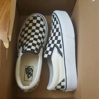 Classic Black And White Checkered Platform VANS