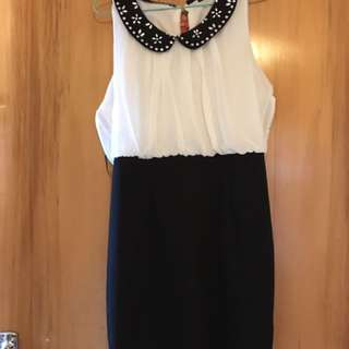 Black and White Dress With Pencil Skirt Bottom