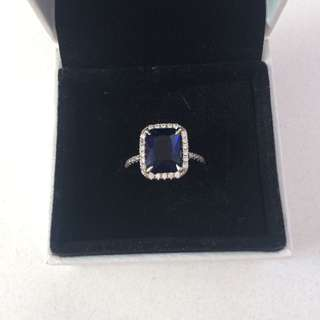Blue Sterling Silver Ring