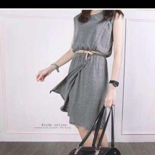 Nude 灰色剪裁洋裝