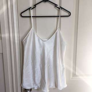 Off White Silk Singlet Top