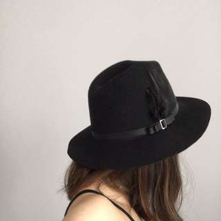 Black Feather Fedora Hat