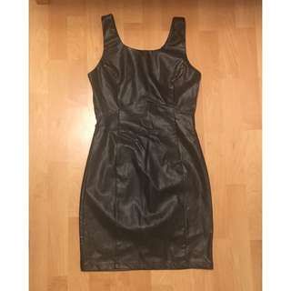 Forever 21 Black Pleather Bodycon Dress