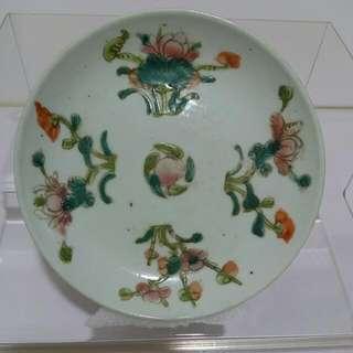 民國景德鎮,四季花紋,粉彩盤,直徑13cm,高2.2cm,已收藏兩代