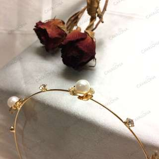 Shiny Headband Bando Pesta Bunga Mewah Flower Crown Bando Bunga Mutiara Crystal Besar