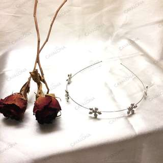 Flower Crown Crystal Bando Bunga Pesta Silver Mahkota Head Piece Pesta