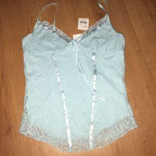 Lacy Blue Corset Like Top