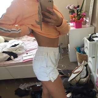 White Denim Loose Fit Shorts