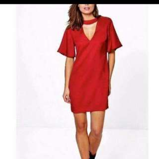 Bohoo Red Choker Dress