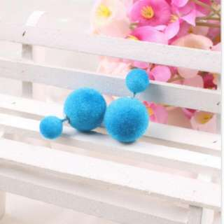Sky Blue Fuzzy Candy Double Ball Earrings