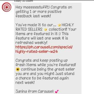 Feedback Again From Courosell!!! 😄😄😄😄