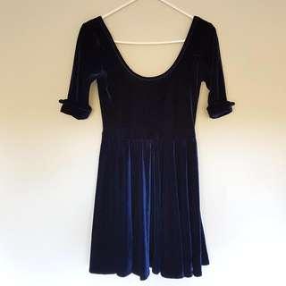 Blue Velvet Skater Dress